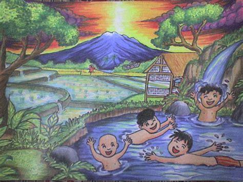 contoh gambar sketsa pemandangan desa fontoh