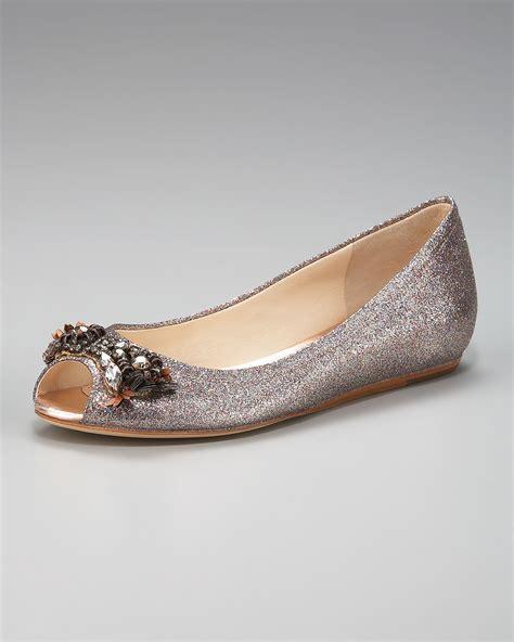 silver flat peep toe shoes vera wang lavender glitter peep toe ballerina flat in