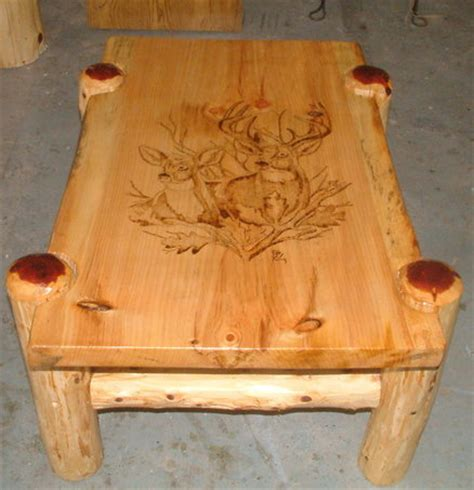 Wood Burned Table by Rustic Pine Coffee Table With Woodburned Deer Burn Ideas