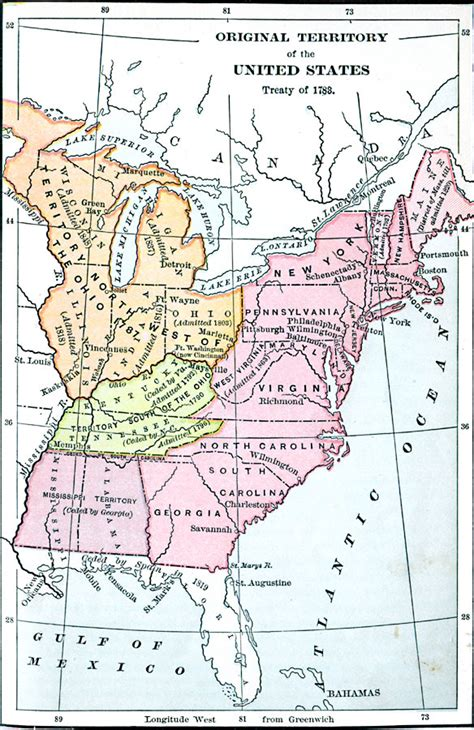 america map in 1783 early territory of the united states
