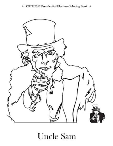 vote 2012 presidential election coloring book uncle sam