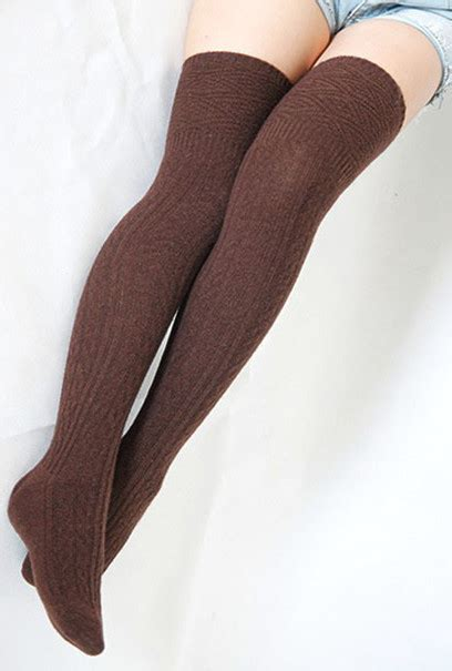 thigh high knit socks socks preppy cable knit brown thigh high socks