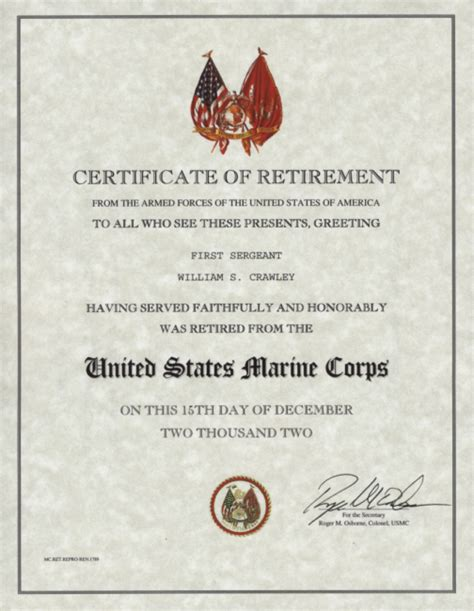 templates for retirement certificate u s marine corps retirement certificate