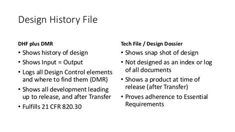 definition design history file medical device development