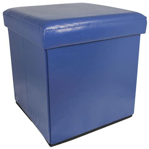 ottoman toy box blue faux leather folding storage pouffe seat ottoman toy