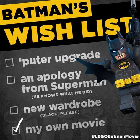 Lego Movie Memes - batman s wish list the lego batman movie know your meme