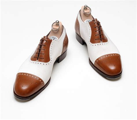 brown and white oxford shoes handmade mens oxford brogues brown and white color dress