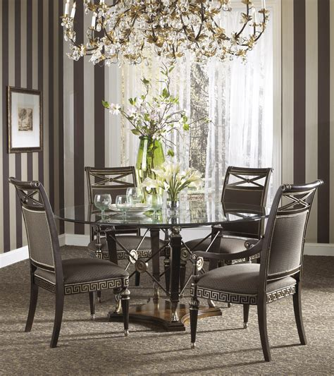 buy the belvedere dining room set with ground glass table by fine furniture design from www