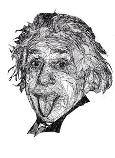 biography sketch of albert einstein geometric portraits ink by allison kunath via behance