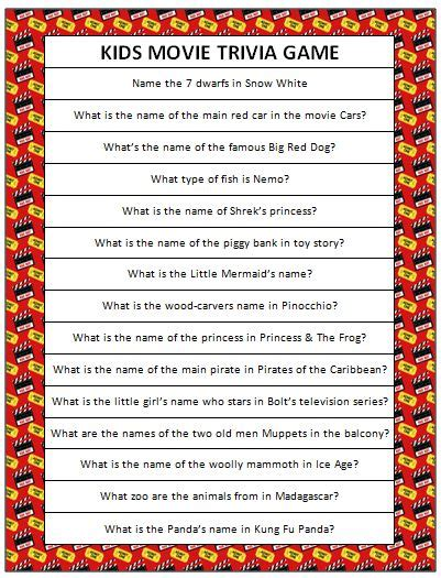 kids movie trivia questions ii trivia ch kids movie trivia free printable disney mom and movie