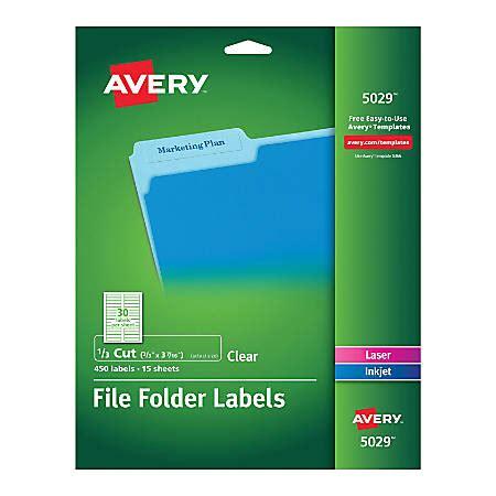 Avery Clear Permanent Inkjetlaser File Folder Labels 5029 23 X 3 716 Pack Of 450 By Office Depot Avery Filing Label 5029 Template