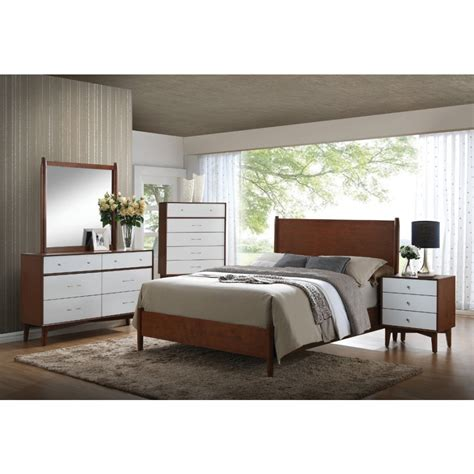 coaster oakwood mid century modern panel bedroom set in