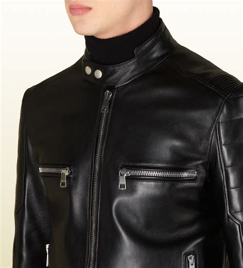 Guc Ci Leather lyst gucci black shiny leather biker jacket in black for