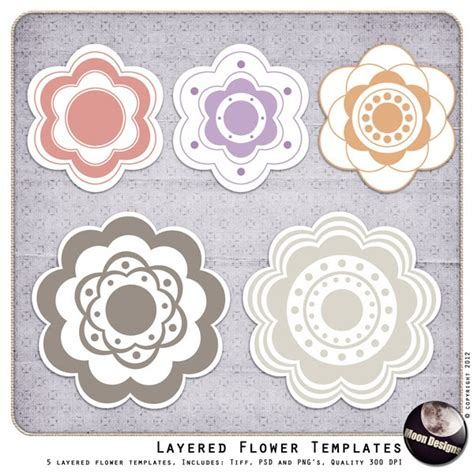 layered flower card template layered flower templates moondesign s