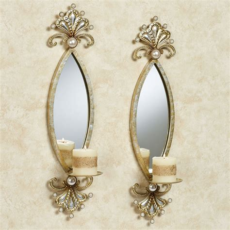 Mirrored Wall Sconces For Candles Giorgianna Pearl Mirrored Wall Sconce Pair