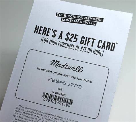 Madewell Gift Card - birchbox gift card code gift ftempo