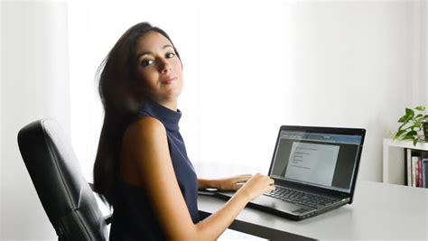 Office Worker At Desk Pretty Customer Service Worker Stock Footage 2893894