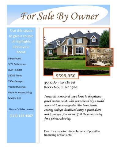 Home Sale Flyer Template by For Sale By Owner Free Flyer Template By Hloom