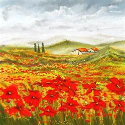 Poppy Shower Curtain Field Of Dreams Poppy Field Paintings Painting By Lourry