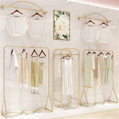 wall clothes rack clothing store display stand gold