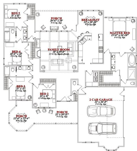 5 Bedroom Floor Plans 1 Story One Story 5 Bedroom House Plans On Any Websites