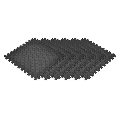 norsk black 24 in x 24 in x 0 47 in foam garage flooring interlocking mat 6 pack 241447