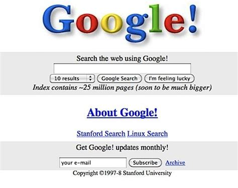 Search S Likes Here S What Looked Like The Day It Launched In 1998 Business Insider