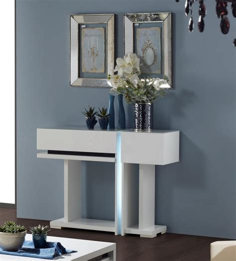 Small Contemporary Modern White Console Table With Storage