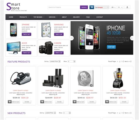 free shop templates smart store shopping cart mobile website template