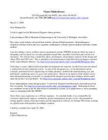 mechanical engineering cover letter exles sle cover letter for a mechanical engineer