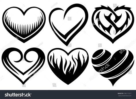 heart tattoos vector hearts tattoos stock vector 100111517 shutterstock