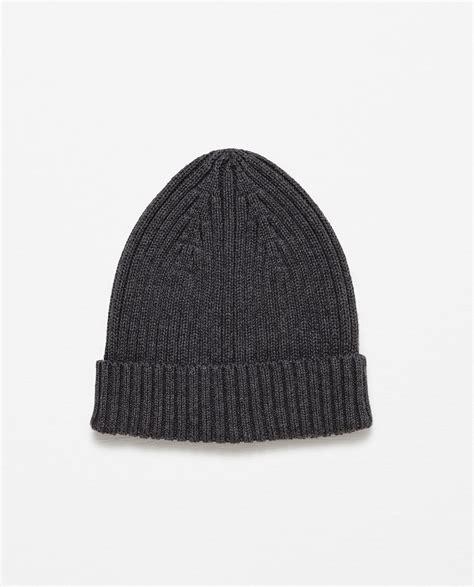 Zara Rib Knit Hat In Gray For Grey Lyst