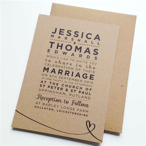 not on the high rustic wedding invitations henley rustic kraft wedding stationery set by megan notonthehighstreet