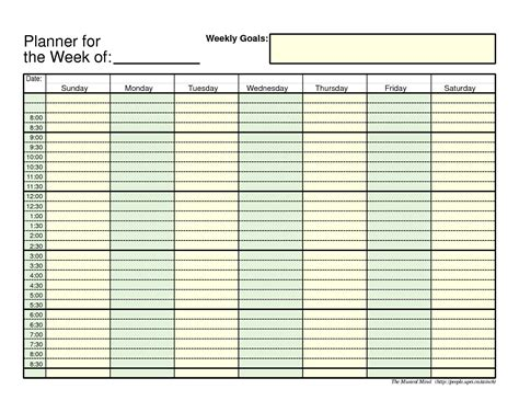 weekly planner printable free template 7 weekly planner templates word excel pdf templates