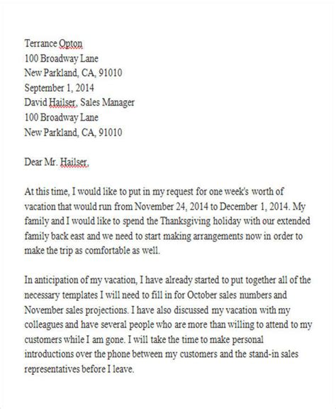 Request Letter Vacation Sle letter for leave requesting to the manager