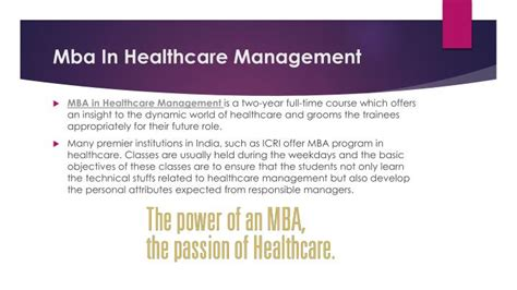 Mba In Hospital Management by Ppt Mba In Healthcare Management For Career Powerpoint