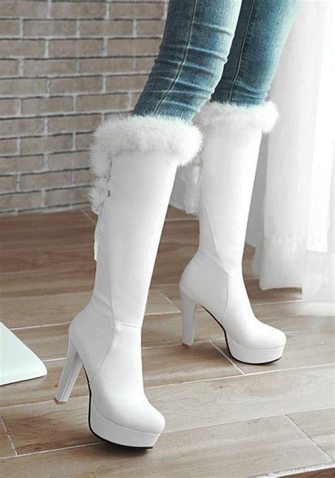 white toe chunky faux fur patchwork fashion knee
