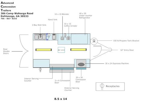food truck design layout trailer layout advanced concession trailers