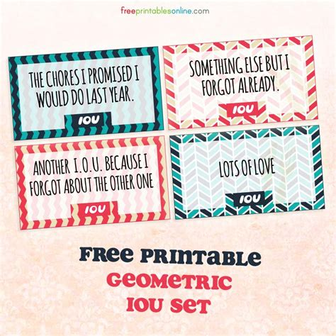 iou coupons geometric printable iou coupons free printables