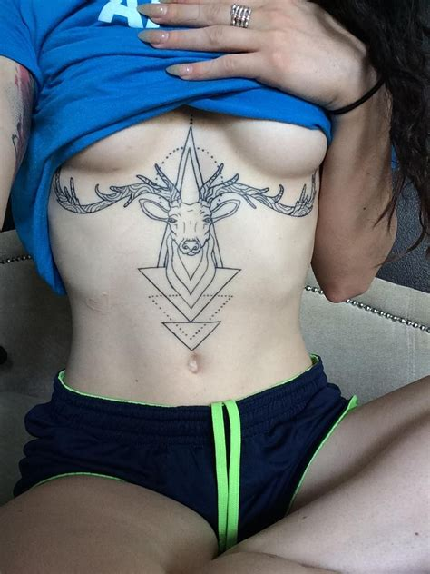 tiny tim s tattoo geometric sternum stag done by fred patterson tiny tim s