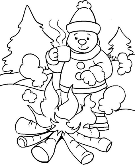 winter activity coloring pages images