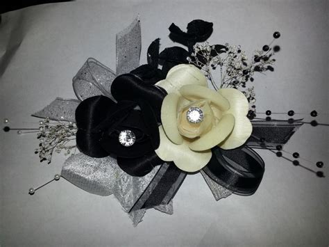 Corsage Black Grey black white with silver accents prom corsage wooden flowers prom corsage