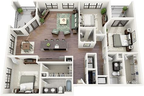 three bedroom two bathroom apartment 7 best 3 bedroom house plans in 3d you can copy