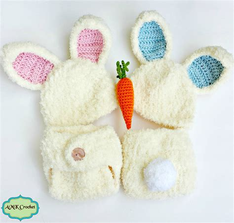 Baby Hat And Cover crochet newborn fuzzy bunny hat and cover set with