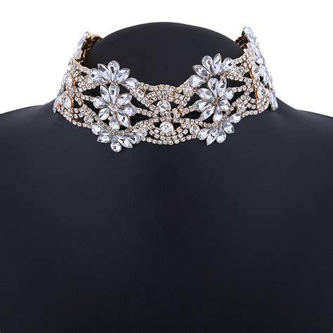 Rhinestone Chain Necklace Golden luxury rhinestone flower pendant choker