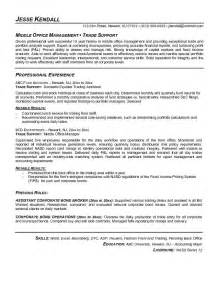 Trade Support Sle Resume by Exle Trade Support Resume Free Sle
