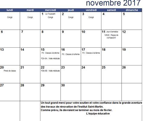 Calendrier De Novembre Calendrier Du Mois De Novembre 2017 Apsmart