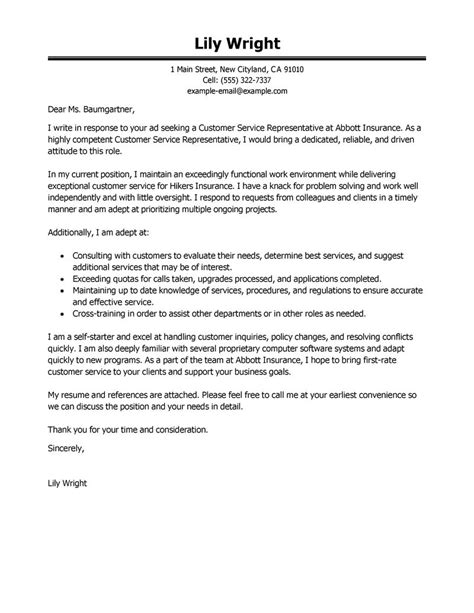 cover letter exle for customer service leading professional customer service representative cover