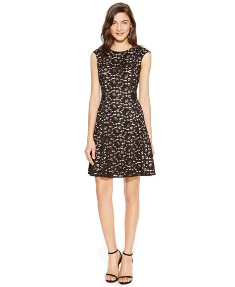 Lace A Line Dress lyst vince camuto lace a line dress in black