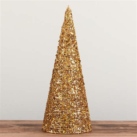 silver sparkling mesh beaded cone tree gold sparkling mesh beaded cone tree trees and toppers and winter crafts